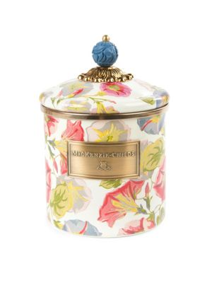 """Image of From the Morning Glory Collection. Lovely canister in a blooming pattern of rise-and-shine vines, topped with a hand-painted enamel lid. Diameter, 5"""".Height, 7.5"""".Silicone seal inside lid. Steel/brass. Hand wash. Imported. Please note: Pieces will vary du"""