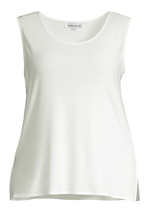 """Image of Classic tank top refreshed in longline silhouette. Scoopneck. Sleeveless. Pullover style. About 31"""" from shoulder to hem. Polyester/spandex. Dry clean. Made in USA of imported fabric."""