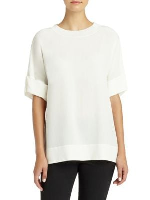 Delphine Silk Crepe De Chine Blouse by Lafayette 148 New York