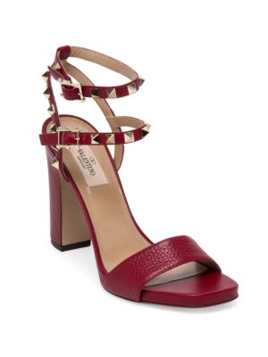 Valentino Leathers Rockstud Leather Ankle-Strap Sandals