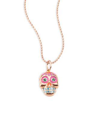 Sydney Evan Small Sugar Skull Emerald 14k Rose Gold Pendant Necklace