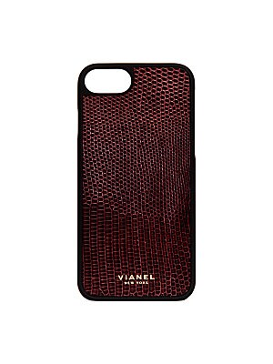 """Image of Luxe lizard-skin case with protective rubber frame Fits iPhone 7 2.75""""W x 5.5""""H Lizard/rubber Made in USA. Handbags - European Collection Hdba > Saks Fifth Avenue. Vianel. Color: Cranberry."""