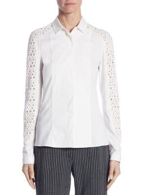 Lace Button-Front Blouse by Akris punto