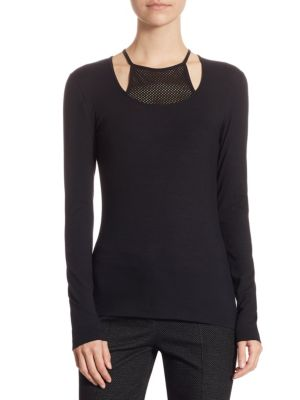 Mesh Long Sleeve Pullover by Akris punto