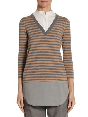 Wool Striped Pullover by Akris punto