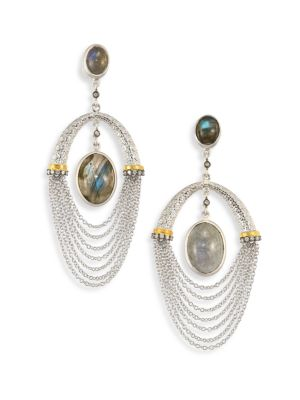 COOMI SILVER Spring Labradorite, Diamond & Sterling Siler Drop Earrings in Silver Multi