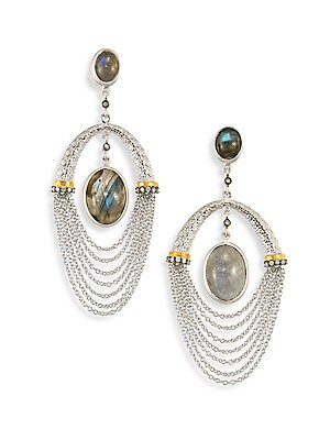 "Image of From the Spring Labradorite Collection Dual labradorite drop with draped chains and diamonds Diamonds, 0.23 tcw Labradorite 20K yellow gold and sterling silver Drop, 2.5"" Post back Imported. Fine Jewelry - Fine Designer Jewelry. Coomi Silver. Color: Silve"