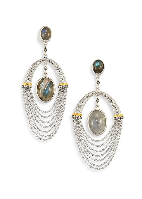 """Image of From the Spring Labradorite Collection. Dual labradorite drop with draped chains and diamonds. Diamonds, 0.23 tcw. Labradorite.20K yellow gold and sterling silver. Drop, 2.5"""".Post back. Imported."""