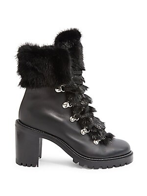 f19a3713b3c Christian Louboutin - Fanny 70 Fur-Trimmed Leather Lace-Up Booties
