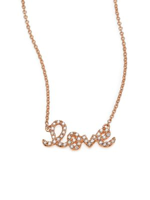 Sydney Evan Love Diamond 14k Rose Gold Necklace