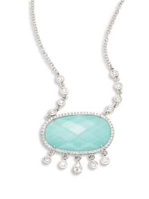 Meira T Diamond Turquoise Doublet Pendant Necklace
