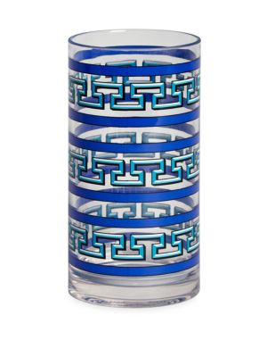 "Image of Jonathan Adler's Mykonos Highball Glass features rows of Greek key trim, and is perfectly suited for easy entertaining outdoors. Height, 6"".BPA-free. Melamine. Dishwasher safe. Imported."