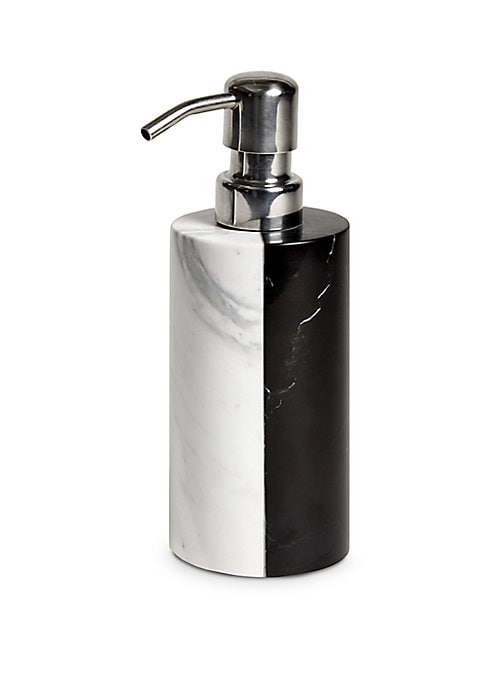 """Image of Graphic, glamorous, and go-anywhere, Jonathan Adler's Canaan bath accessories take classic black and white to new heights. Height, 7"""".Marble. Hand wash. Imported."""