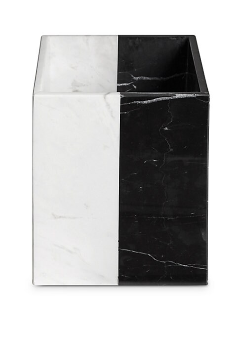 """Image of Graphic, glamorous, and go-anywhere, Jonathan Adler's Canaan bath accessories take classic black and white to new heights.7.5""""W x 7.5""""L x 9.5""""H.Marble. Hand wash. Imported."""