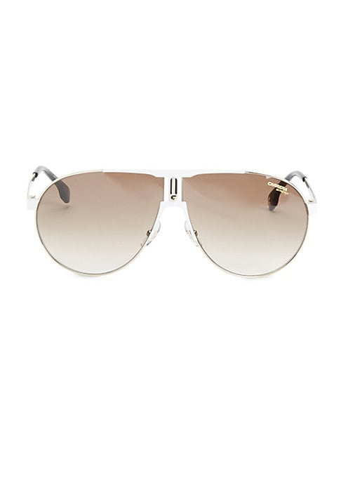 Image of A lightweight aviator made from stainless steel.66mm lens width; 09mm bridge width; 140mm temple length.100% UV protection. Brown gradient lenses. Stainless steel. Spot clean. Imported.