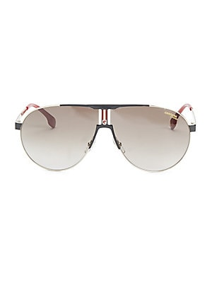 Image of A lightweight aviator made from stainless steel 66mm lens width; 09mm bridge width; 140mm temple length 100% UV protection Brown gradient lenses Stainless steel Spot clean Imported. Men Accessories - Men Sunglasses. Carrera. Color: Beige.