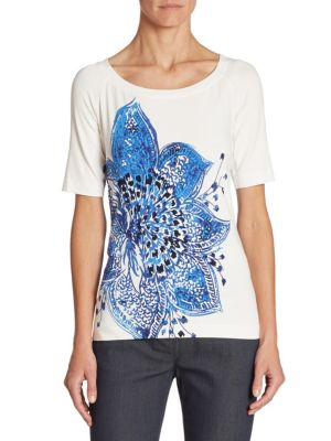 Lotus Printed Jersey Tee by St. John