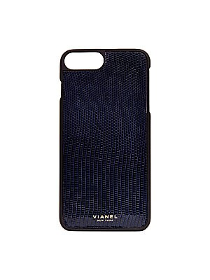 """Image of Luxe lizard-skin case with protective rubber frame Fits iPhone 7 Plus 3""""W x 6.25""""H Lizard/rubber Made in USA. Handbags - European Collection Hdba > Saks Fifth Avenue. Vianel. Color: Navy."""