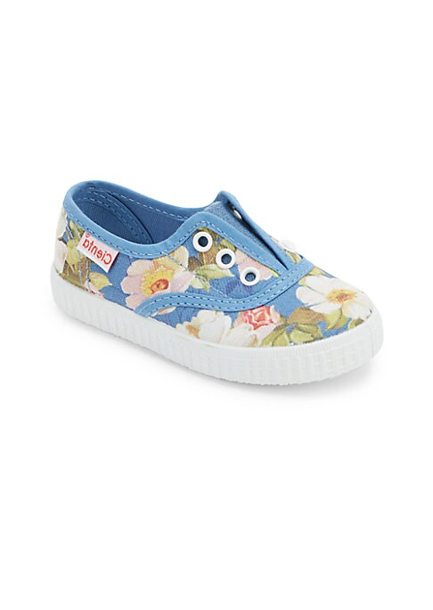 Image of Beautiful floral print charms these no lace sneakers. Contrast eyelets. Slip-on style. Canvas upper. Canvas lining. Rubber sole. Made in Spain.