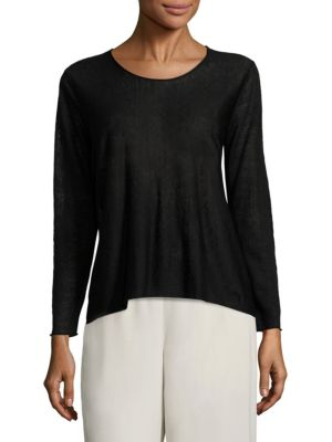 Crepe Jewelneck Top by Eileen Fisher