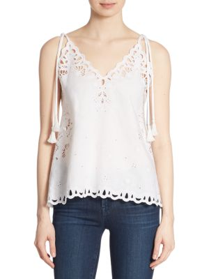 Wiola Linen & Cotton Eyelet Blouse by Theory