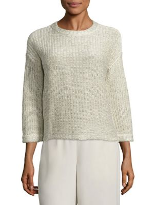 Cotton Jacquard Box Tee by Eileen Fisher