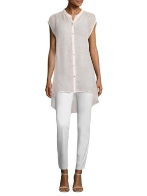 Hi-Lo Stand Collar Shirt by Eileen Fisher