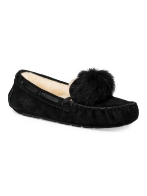 Women'S Dakota Moccasin Pom Pom Slippers, Black