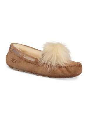 Women'S Dakota Moccasin Pom Pom Slippers, Chestnut