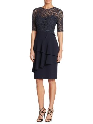 Beaded Crepe & Lace Sheath Dress