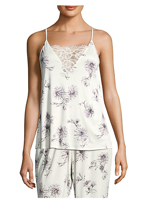 """Image of Cotton camisole designed with mesh embroidery. Squareneck. Adjustable spaghetti straps. Back keyhole. About 27"""" from shoulder to hem. Mercerized cotton. Machine wash. Imported."""