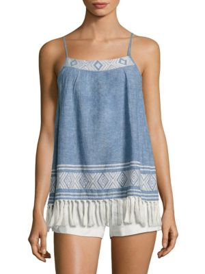 Agneza Chambray Tassel Tank Top by Joie