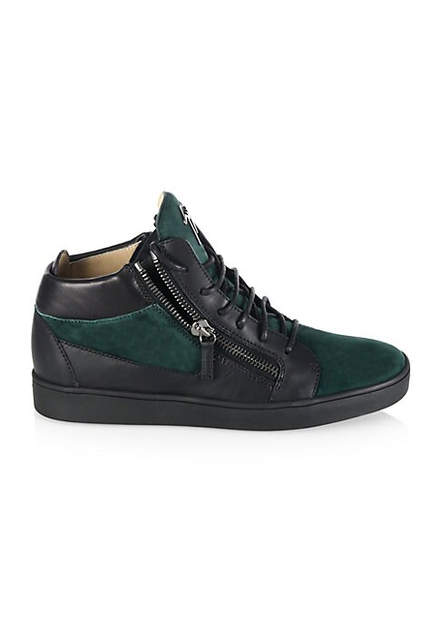 Image of Modern double-zip sneaker with mixed media construction. Leather and suede upper. Round toe. Lace-up vamp with side zips. Leather lining. Rubber sole. Padded insole. Made in Italy.