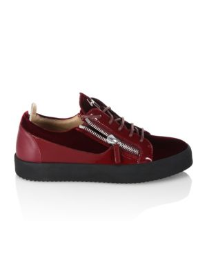 78c37f1e76495 Giuseppe Zanotti Low Velvet Amaranto Leather Sneakers