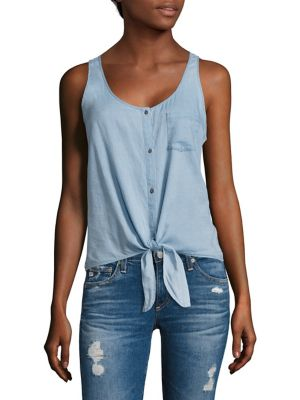 Cynthia Tie-Front Chambray Tank Top by AG