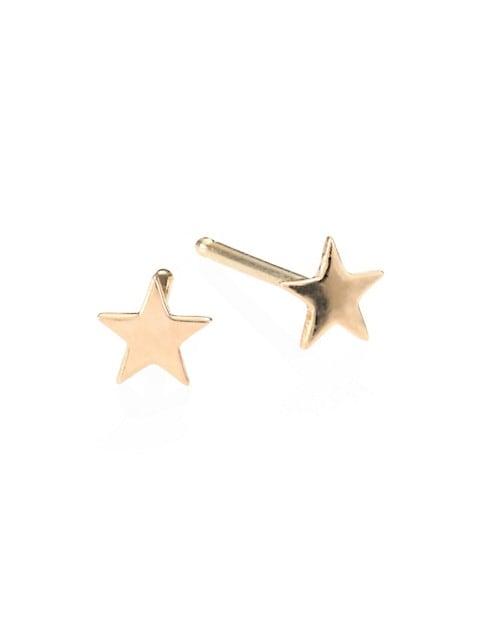 14K Yellow Gold Itty Bitty Star Stud Earrings