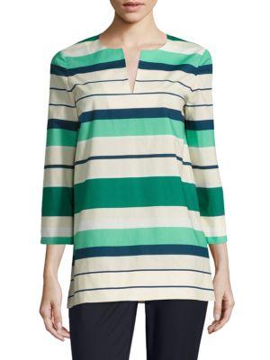 Moria Striped Cotton Blouse by Lafayette 148 New York