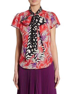 Spotted Silk Floral Blouse by Marc Jacobs
