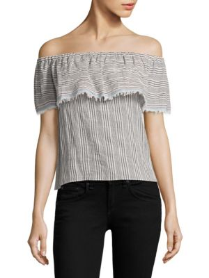 Ruffled Striped Off-The-Shoulder Top by Bailey 44
