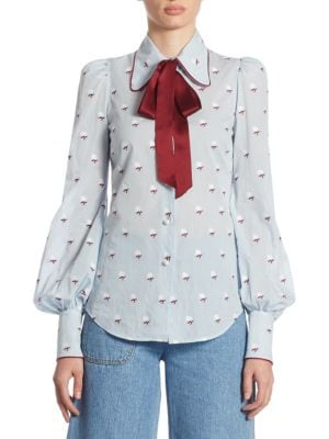 Embroidered Button Front Blouse by Marc Jacobs
