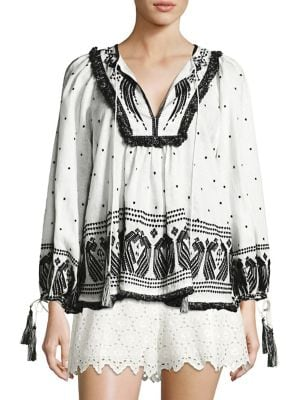 Divinity Peacock Embroidered Boho Top by Zimmermann