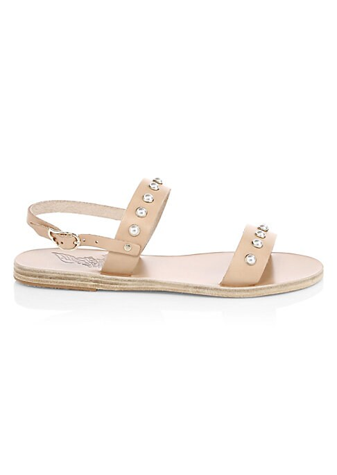 Image of Double band sandals with pearl embellishments. Leather upper. Adjustable ankle strap with buckle closure. Leather lining. Leather/rubber sole. Imported.