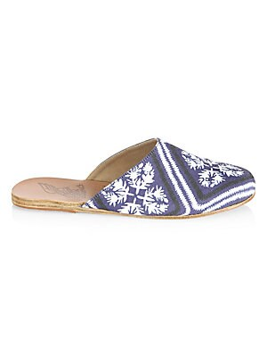 Image of Bandana-print mule slide with curved topline Fabric upper Almond toe Slip-on style Leather lining Leather/rubber sole Imported. Women's Shoes - Contemporary Womens Shoe. Ancient Greek Sandals. Color: Marine. Size: 36 (6).