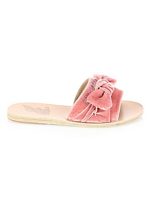 Image of Taygette bow accent defines these adorable sandals Leather upper Slide-on style Leather sole Made in Greece. Women's Shoes - Contemporary Womens Shoe > Saks Fifth Avenue. Ancient Greek Sandals. Color: Dusty Pink. Size: 38 (8).