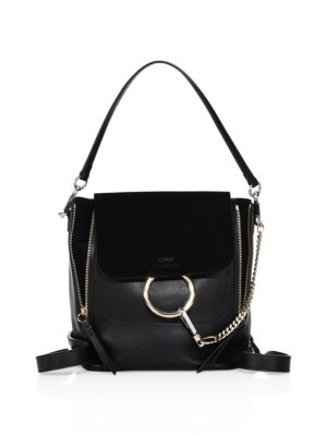 Chloe Small Faye Suede & Calfskin Backpack In Black
