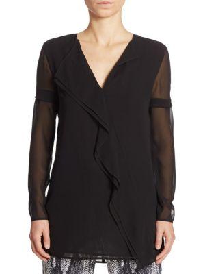 Asymmetric Ruffled Silk Blouse by St. John