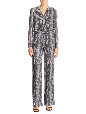 b52b40fb99ea St. John Ruffled Snakeskin-Print Silk Jumpsuit In Mica Multi