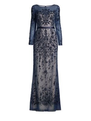 BASIX BLACK LABEL Ills Floral Embellished Gown in Navy