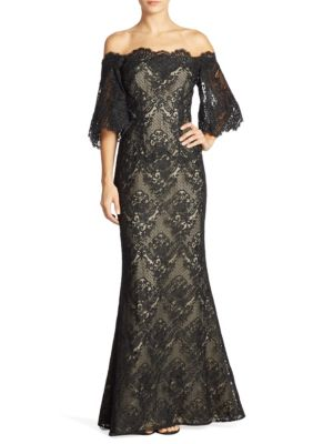 Dolmain Off-the-Shoulder Lace Gown by Basix Black Label