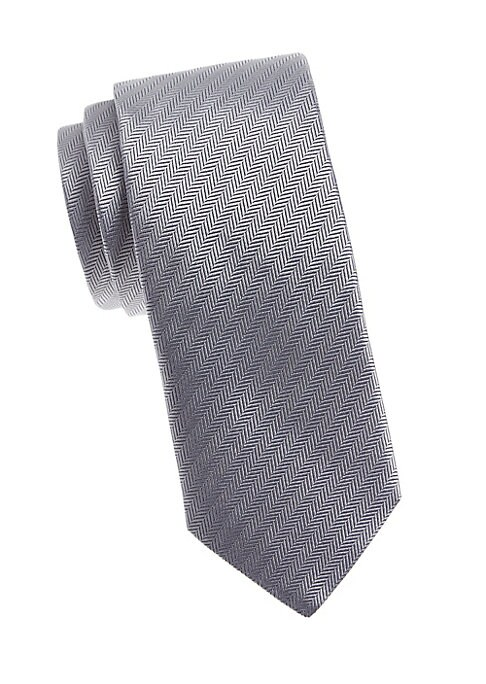 """Image of Italian-made silk tie woven in a herringbone pattern. Silk. Dry clean. Made in Italy. SIZE. Width, about 3""""."""